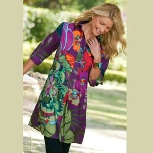 Soft Surroundings Tropical Floral Tunic Henley Top